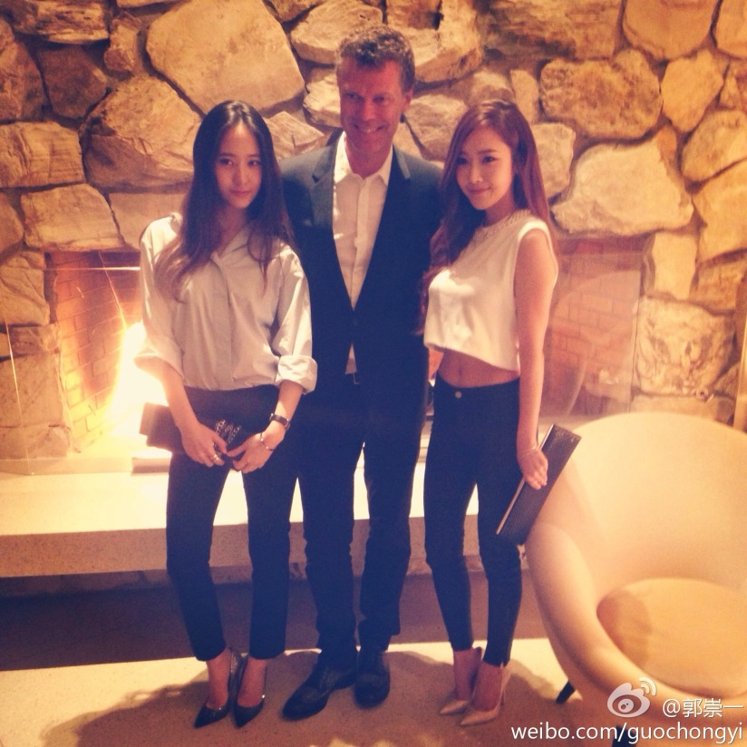 [140416] Jessica (SNSD) and Krystal (F(x)) New Selca with Pierre Denis via Weibo