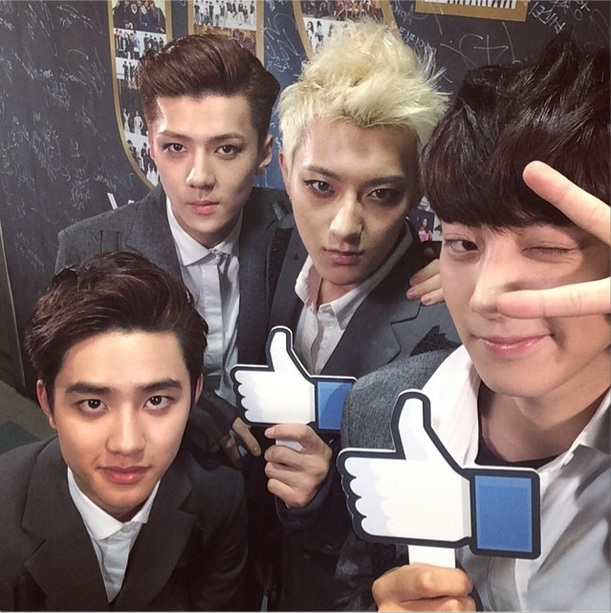 [140607] Tao (EXO) New Selca with D.O, Chanyeol and Sehun via SBSMTV's Instagram