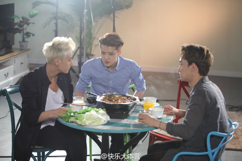 [140702] Chen, Tao & Sehun (EXO) New Picture for 快乐大本营 via 快乐大本营's Weibo [3]