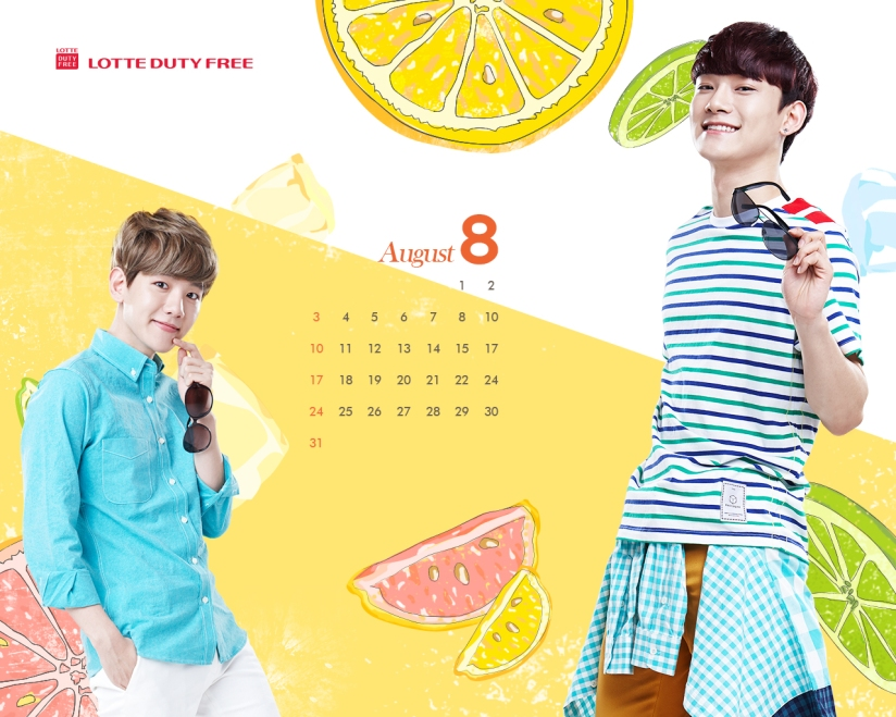 [140726] Baekhyun & Chen (EXO) Wallpaper for Lotte Duty Free CF [1280x1024]